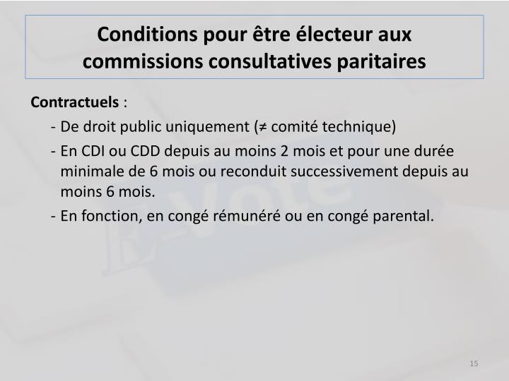 Conditions pour être électeur aux