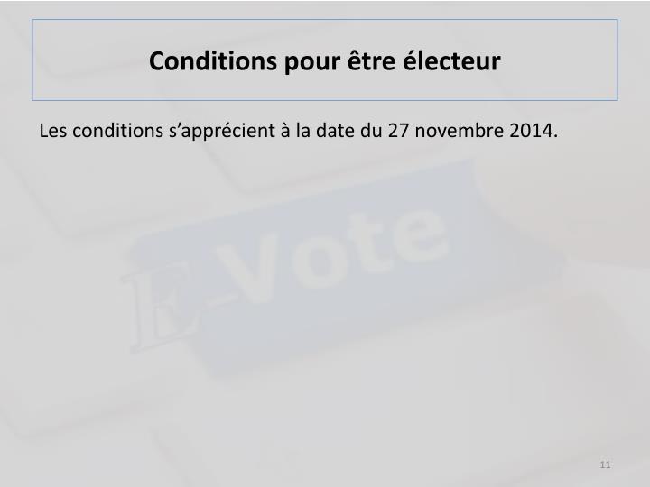 Conditions pour être électeur