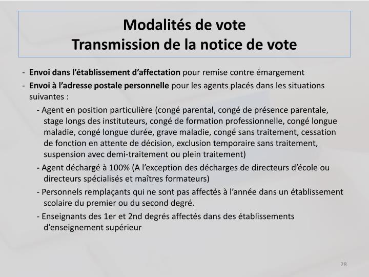 Modalités de vote