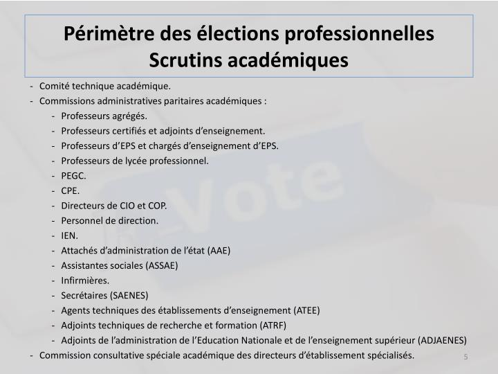 Périmètre des élections professionnelles Scrutins académiques