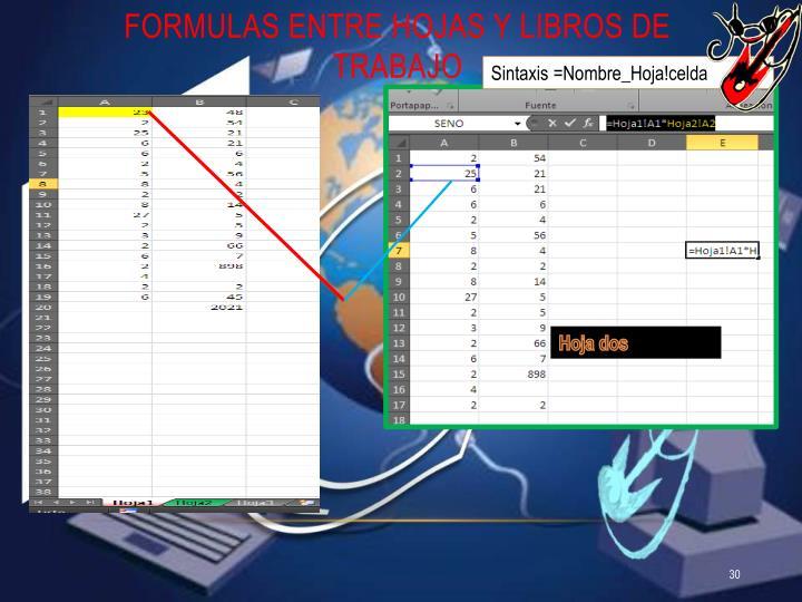 Formulas entre hojas y libros de trabajo