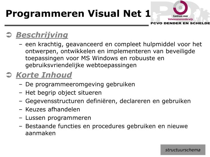 Programmeren Visual Net 1