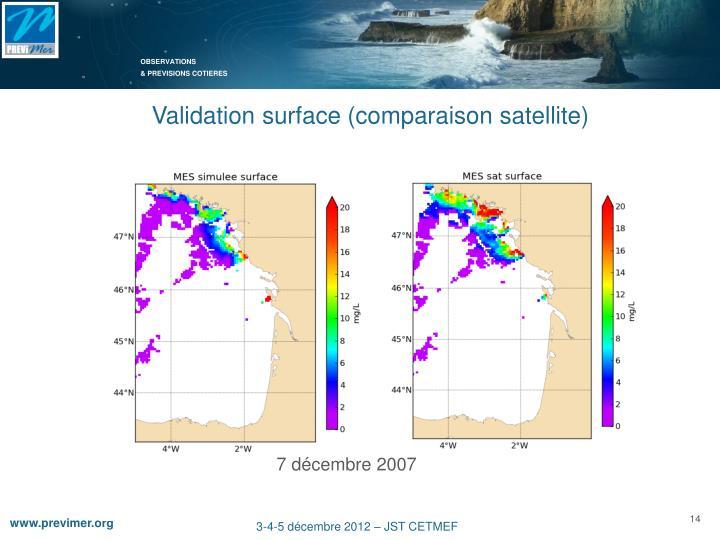 Validation surface (comparaison satellite)