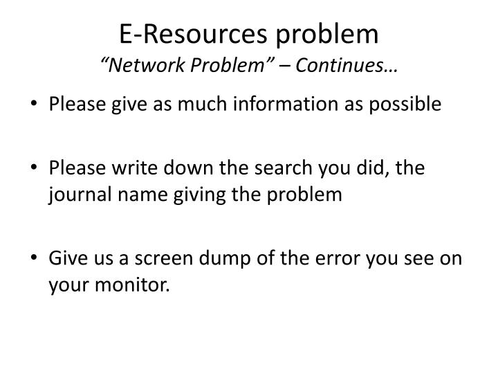 E-Resources problem