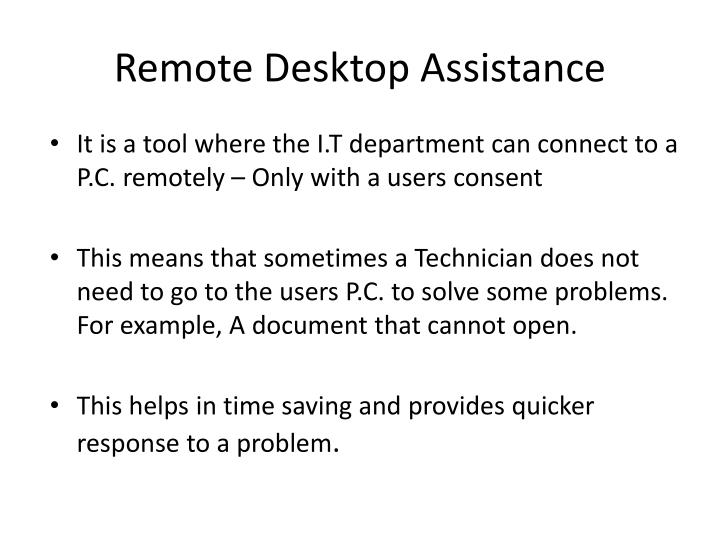 Remote Desktop Assistance