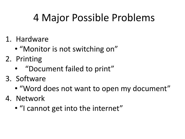 4 Major Possible Problems