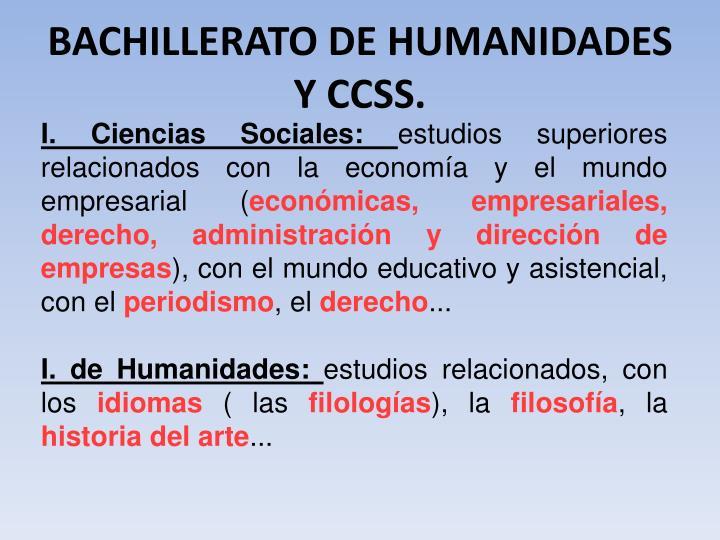 BACHILLERATO DE HUMANIDADES  Y CCSS.
