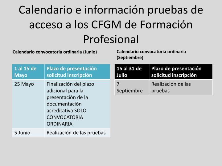Calendario e información pruebas de acceso a los CFGM de Formación Profesional