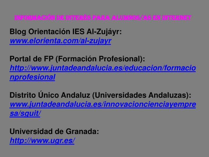 Información de interés para alumnos/as en Internet
