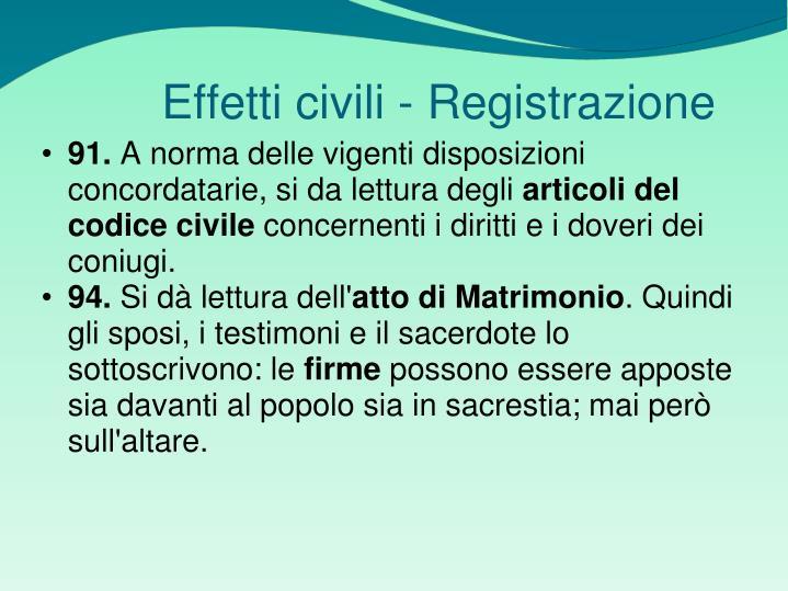 Effetti civili - Registrazione