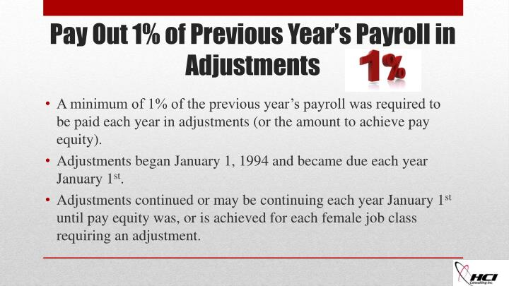 A minimum of 1% of the previous year's payroll was required to be paid each year in adjustments (or the amount to achieve pay equity).