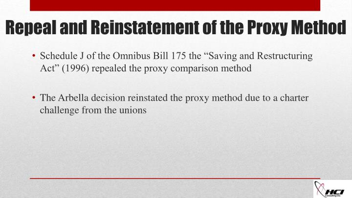 "Schedule J of the Omnibus Bill 175 the ""Saving and Restructuring Act"" (1996) repealed the proxy comparison method"
