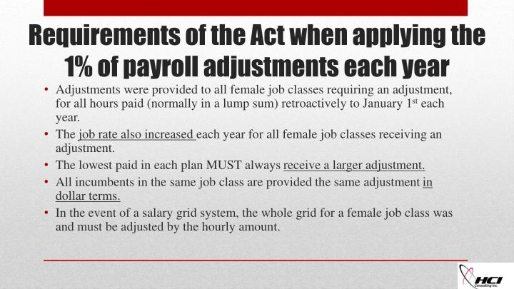 Adjustments were provided to all female job classes requiring an adjustment, for all hours paid (normally in a lump sum) retroactively to January 1