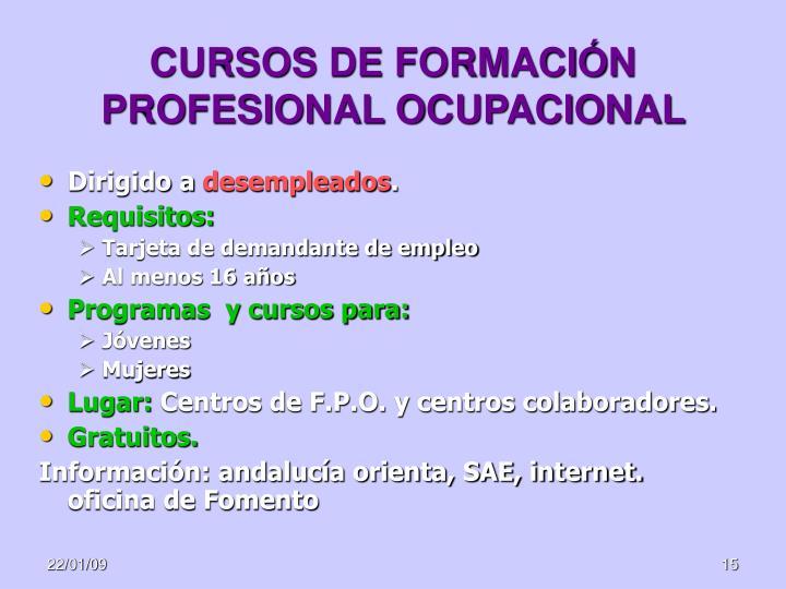 CURSOS DE FORMACIÓN PROFESIONAL OCUPACIONAL
