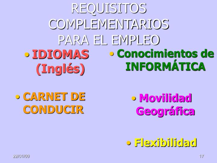 REQUISITOS COMPLEMENTARIOS