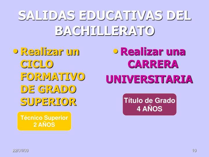 SALIDAS EDUCATIVAS DEL BACHILLERATO