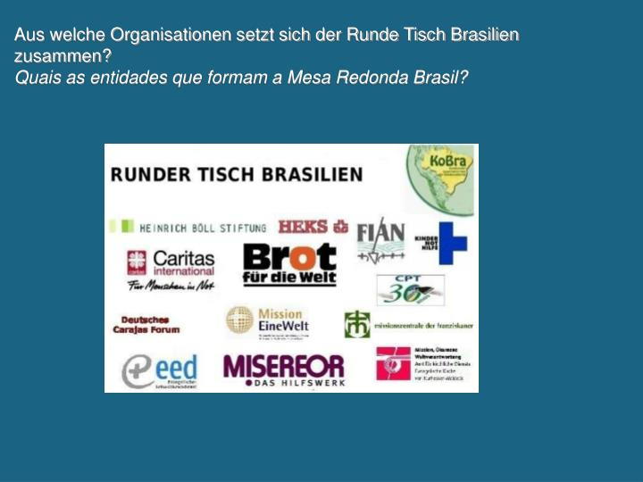 Aus welche Organisationen setzt sich der Runde Tisch Brasilien zusammen?