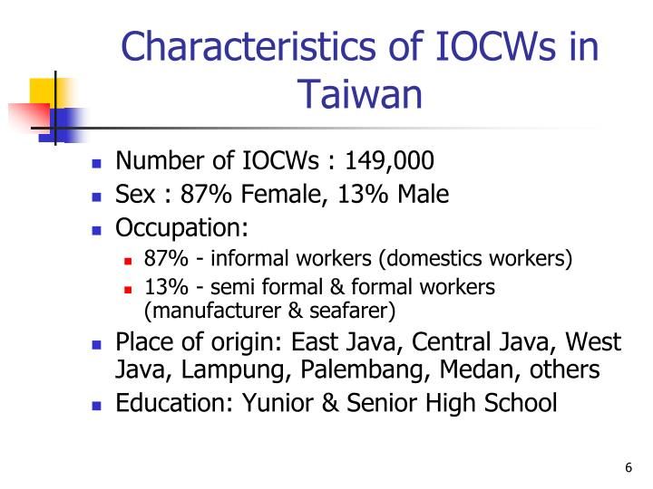 Characteristics of IOCWs in Taiwan