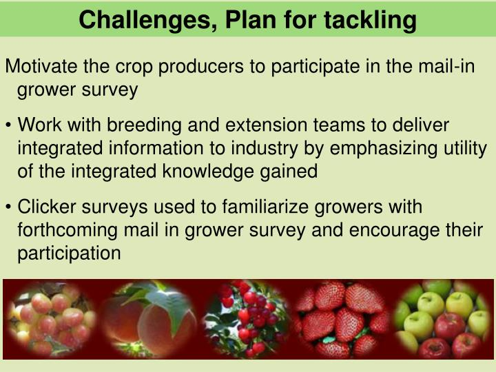 Challenges, Plan for tackling