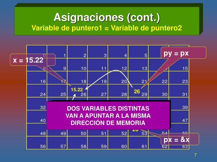 Asignaciones (cont.)