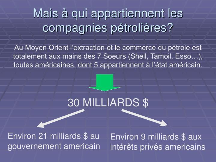 Mais à qui appartiennent les compagnies pétrolières?