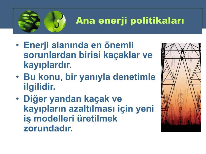 Ana enerji politikaları