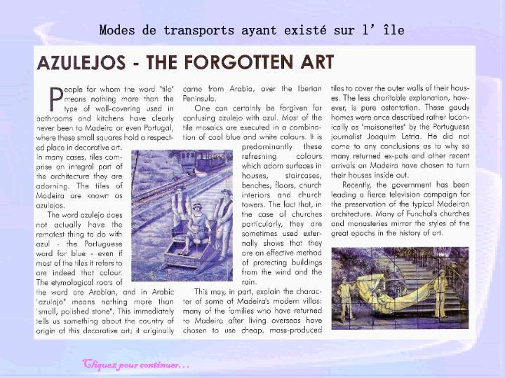 Modes de transports ayant existé sur l'île