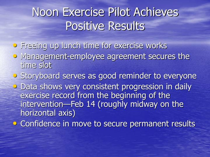 Noon Exercise Pilot Achieves Positive Results