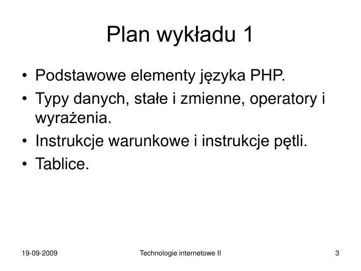 Plan wykładu 1