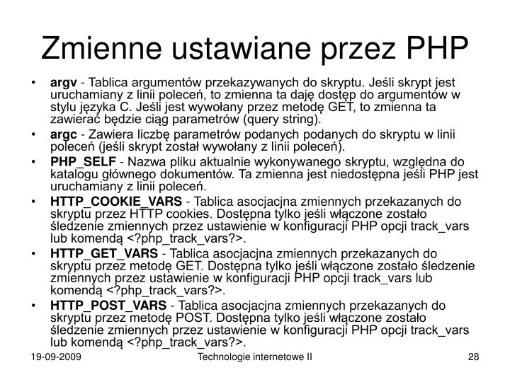 Zmienne ustawiane przez PHP