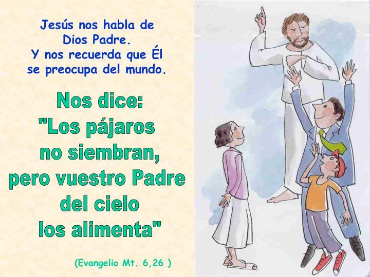 Jesús nos habla de Dios Padre.                 Y nos recuerda que Él se preocupa del mundo.