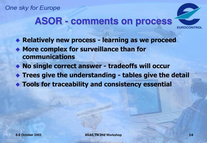 ASOR - comments on process