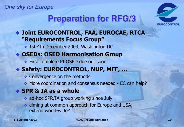 Preparation for RFG/3