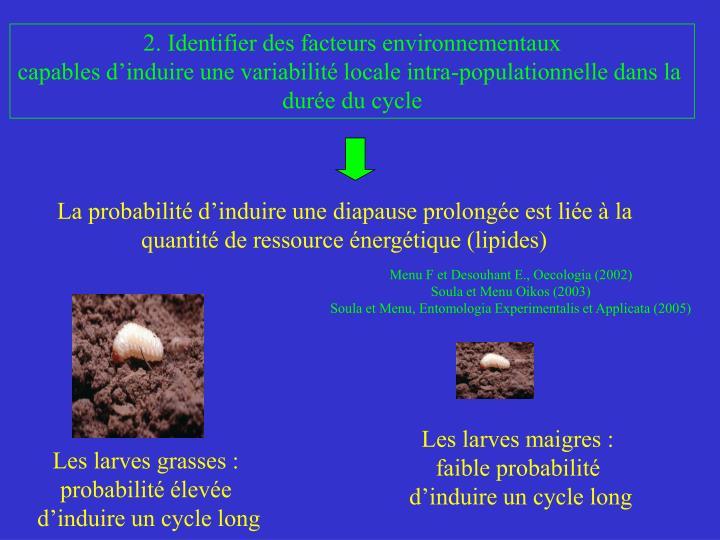 La probabilité d'induire une diapause prolongée est liée à la quantité de ressource énergétique (lipides)