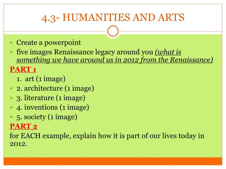 4.3- HUMANITIES AND ARTS