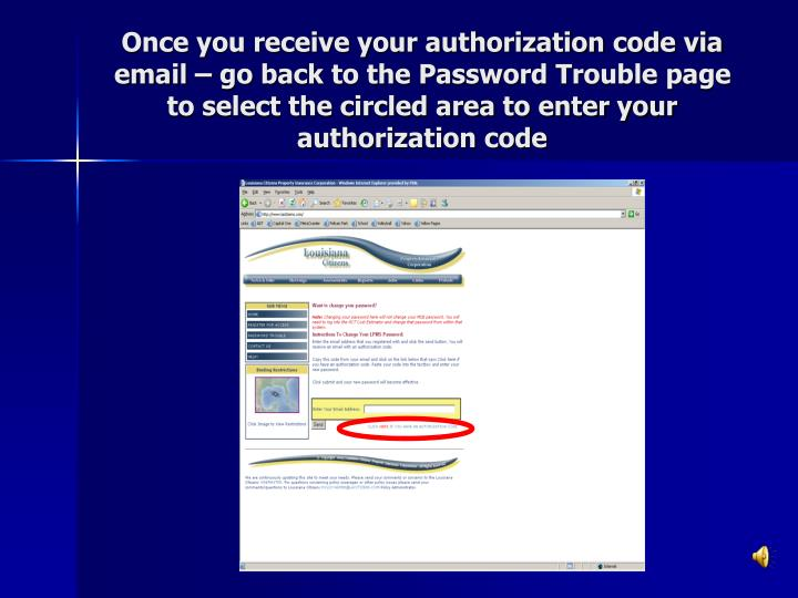 Once you receive your authorization code via email – go back to the Password Trouble page to select the circled area to enter your authorization code