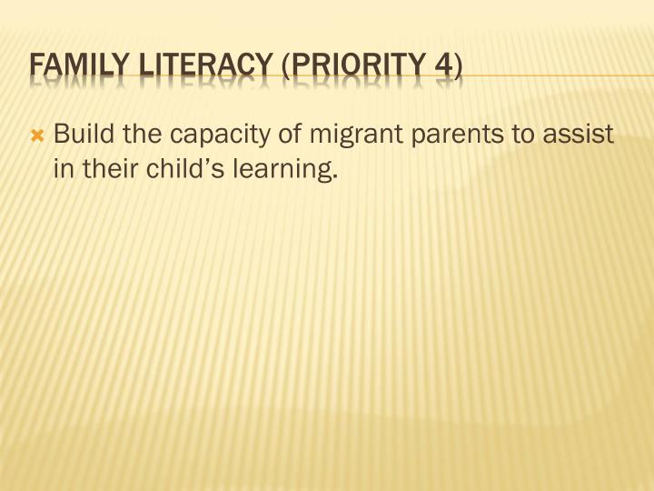 Build the capacity of migrant parents to assist in their child's learning.