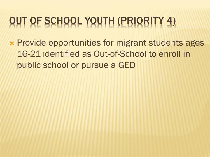 Provide opportunities for migrant students ages 16-21 identified as Out-of-School to enroll in public school or pursue a GED