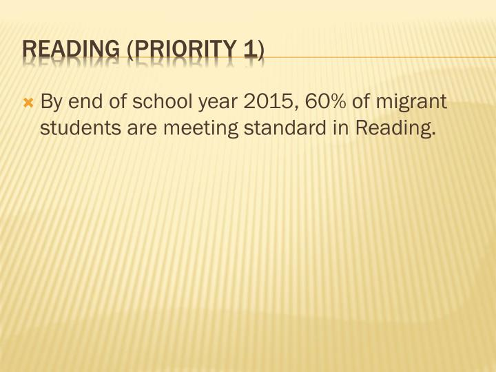 By end of school year 2015, 60% of migrant students are meeting standard in Reading.
