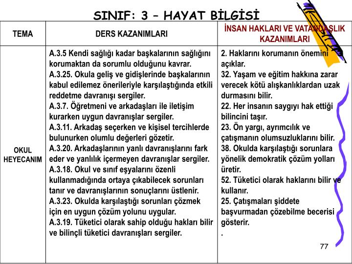 SINIF: 3  HAYAT BLGS