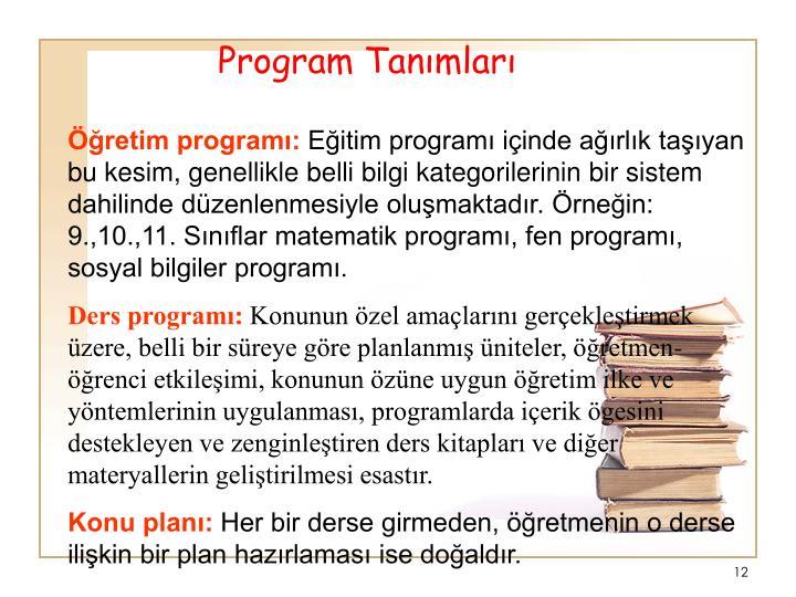 Program Tanmlar