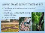 how do plants reduce temperature