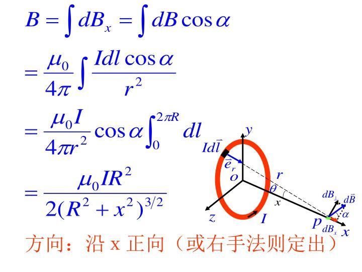 方向:沿x正向(或右手法则定出)