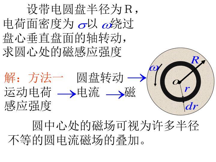 设带电圆盘半径为R,电荷面密度为 以 绕过盘心垂直盘面的轴转动,求圆心处的磁感应强度
