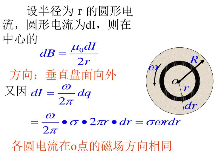 设半径为r的圆形电流,圆形电流为