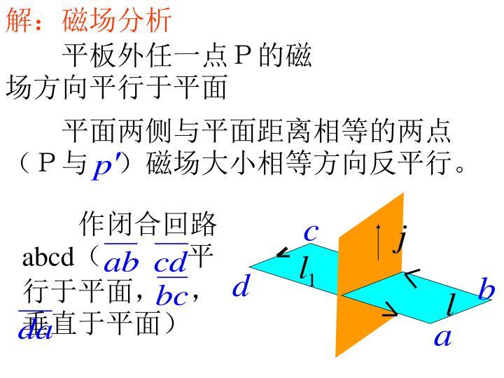 解:磁场分析