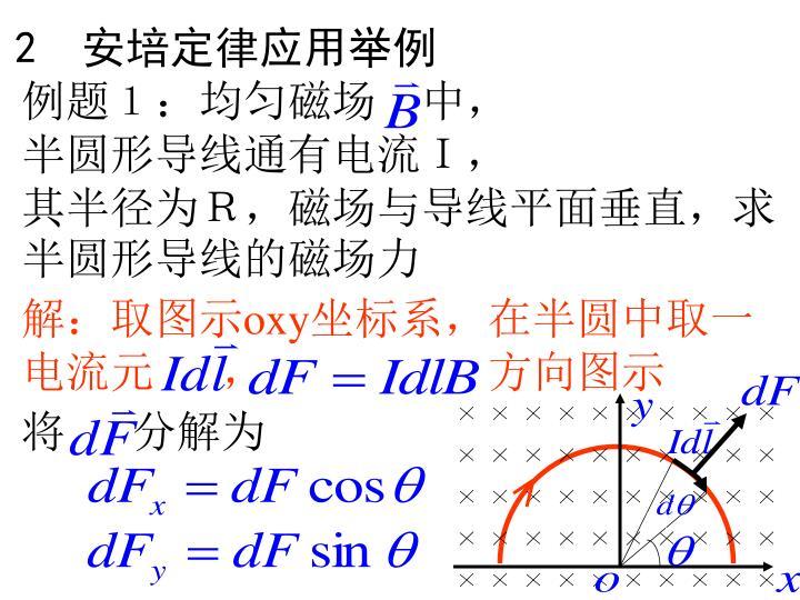 例题1:均匀磁场 中,      半圆形导线通有电流I,      其半径为R,磁场与导线平面垂直,求半圆形导线的磁场力