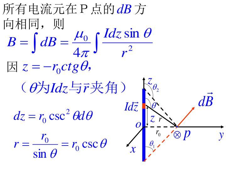 所有电流元在P点的      方向相同,则