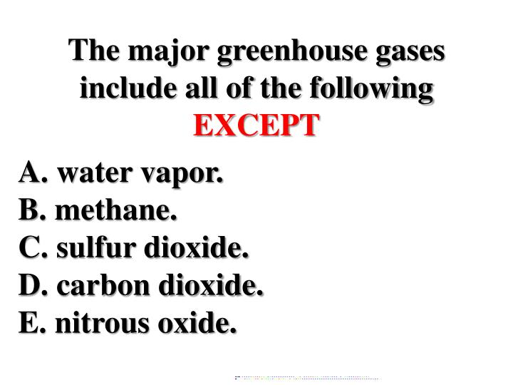 The major greenhouse gases include all of the following
