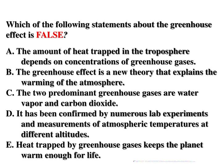 Which of the following statements about the greenhouse effect is